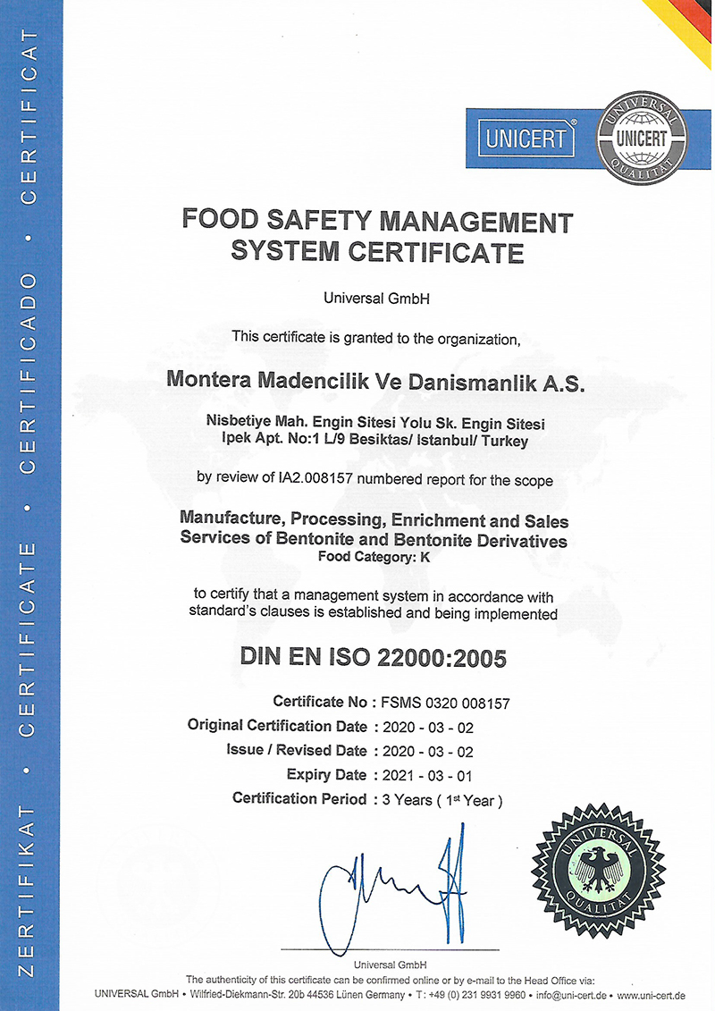 MONTERA - FOOD SAFETY CERTIFICATE 2020